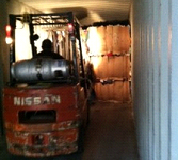 Forklift Inside Container
