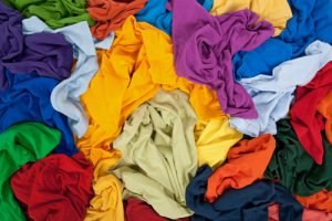 Assorted textiles and fabrics ready for recycling