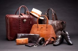 Display of recycled vintage leather items Bank & Vogue