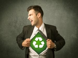 Man is recycling of all stuff superhero Bank & Vogue