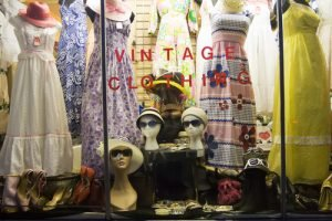 Vintage clothing storefront with recycled textiles