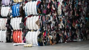 Baled credential clothes in warehouse Bank & Vogue