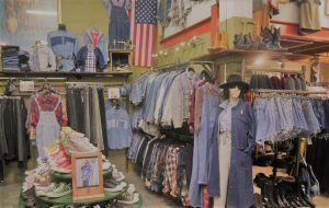 Vintage clothing store showing denim