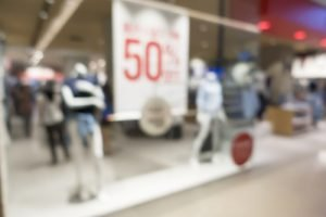 50% off clearance sale at retail store