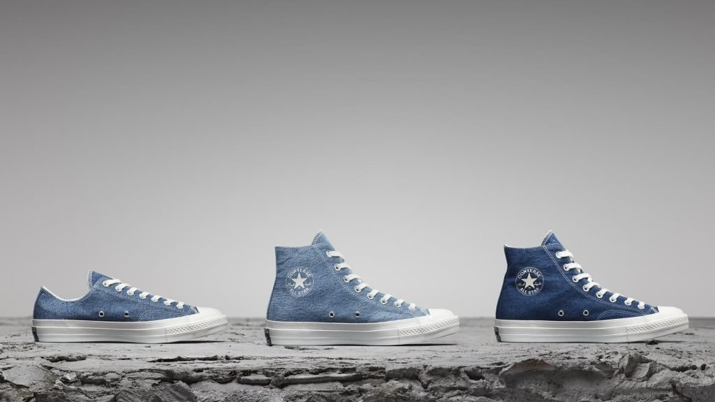 converse shoes in recycled denim fabric