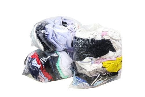 sealed bags of donated used clothing