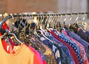 vintage clothing on rack