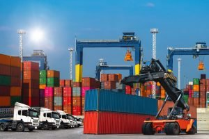 logistics such as containers, ships and trucks