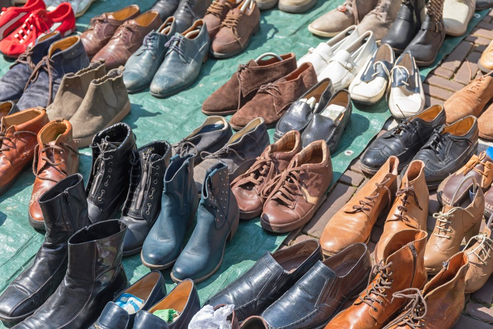 used shows & boots at flea market