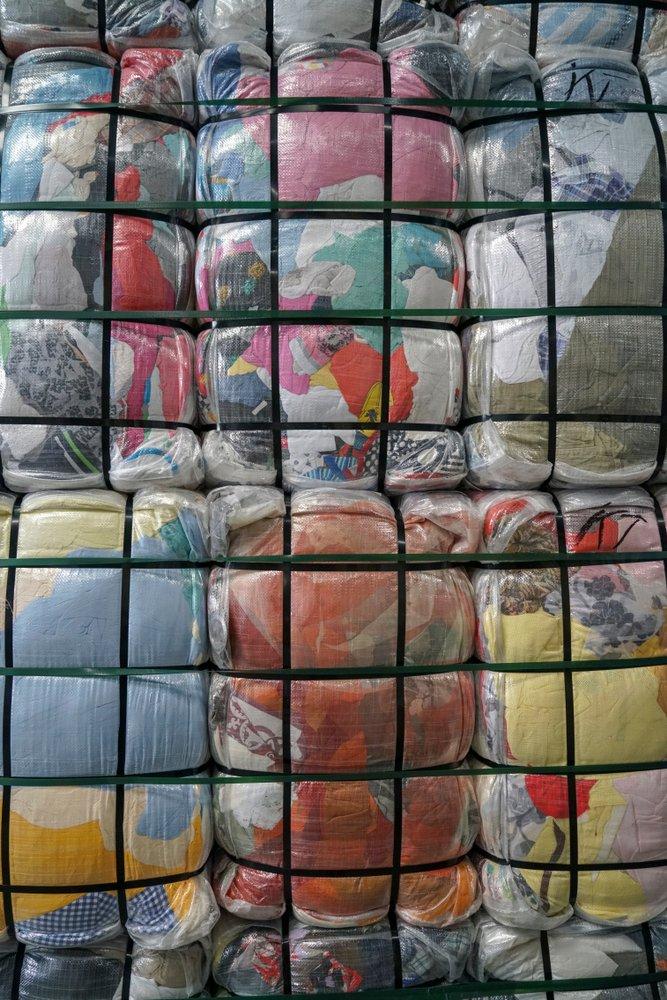 bales of bulk used clothing