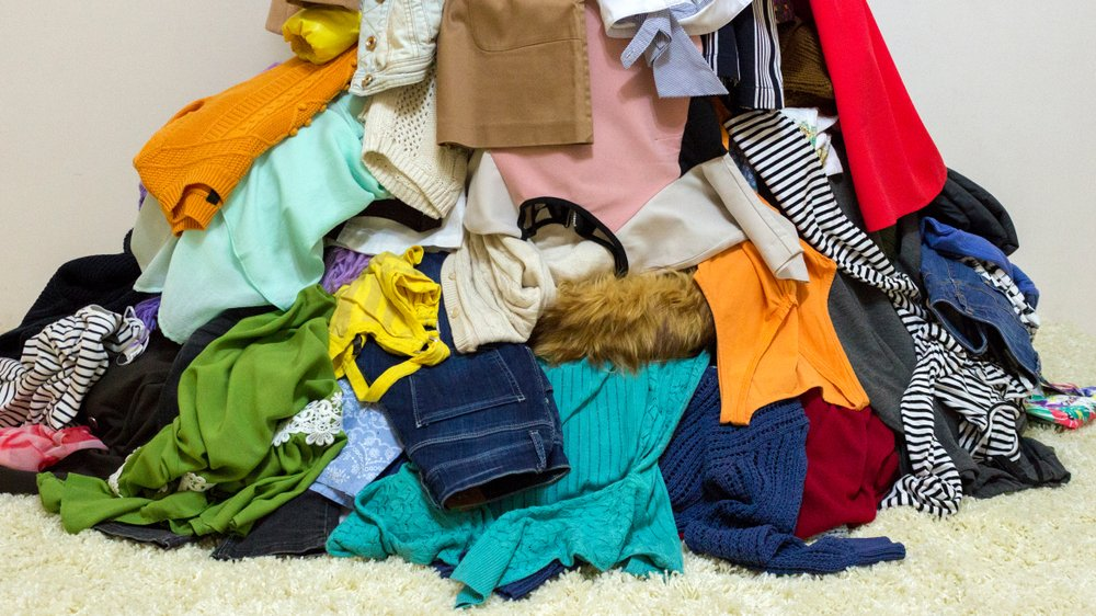 pile of used clothing ready for donation